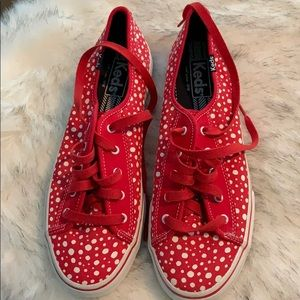 Keds Red with White Polka Dots Fashion Sneakers